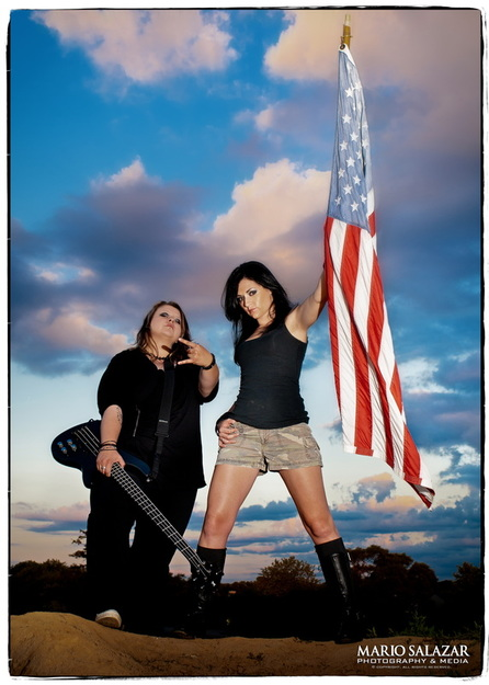 patriot rocker girls sexy guitar flag sunset portrait