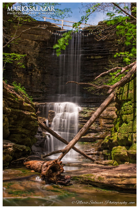 spring waterfall green water falls beautiful stone limestone Illinois